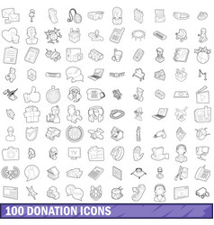 100 donation icons set outline style vector image