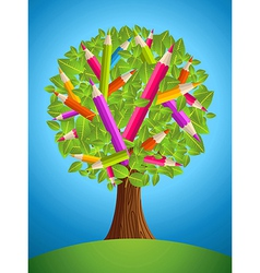 Cute pencil tree design vector