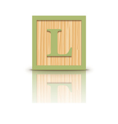 Letter l wooden alphabet block vector