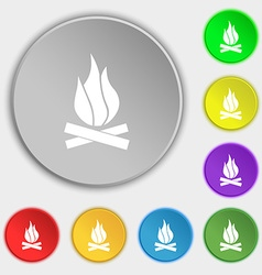 A fire icon sign symbol on five flat buttons vector