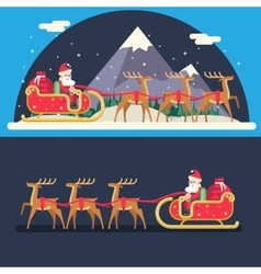 Santa claus sleigh reindeer gifts winter snow vector