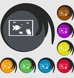 Aquarium fish in water icon sign symbols on eight vector