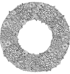 Black and white floral frame pattern vector