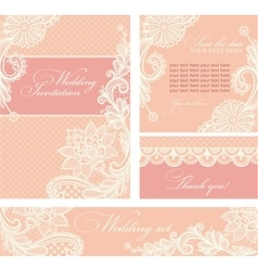 Wedding invitation with lace flowers vector