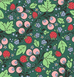 Seamless pattern with strawberry berry vector