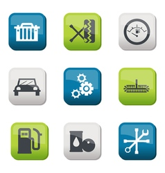 Silhouette fuel and transport colored icons vector