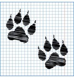 Animal tracks with pen effect vector