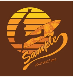 summer t-shirt design with surfer vector image