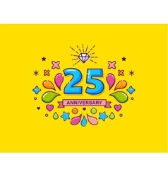 Anniversary colorful background stroke icons vector image