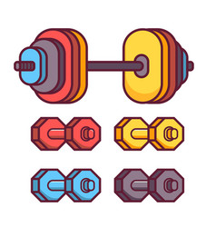 barbell and dumbbell icons vector image vector image