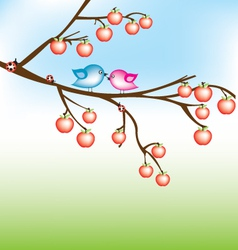 bird on apple tree vector image vector image