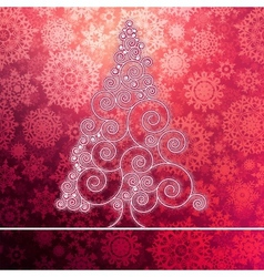 Christmas card with stylized pink glowing EPS8 vector image
