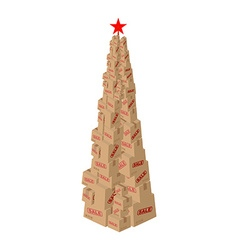 Christmas sale cardboard boxes new year set of vector