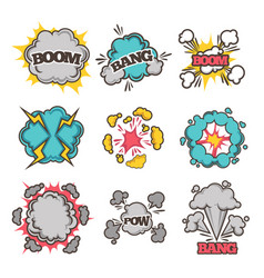 comic bubble clouds of cartoon text vector image vector image