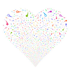 Confetti stars fireworks heart vector