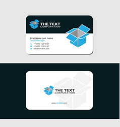 Drop shipping business card with blue open box vector
