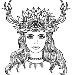 Female shaman portriat vector image vector image