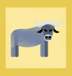 Flat shading style icon cartoon bull vector