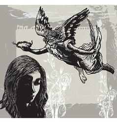 Guardian Angel Condolences - Hand drawn vetor vector image vector image