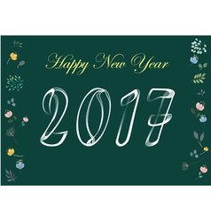 Happy new year 2017 white chalk and flowers vector