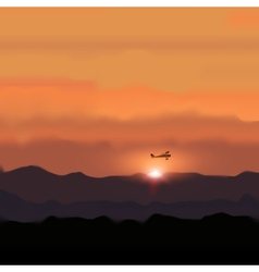 Landscape mountain with sunset and flying plane vector