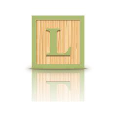 Letter l wooden alphabet block vector