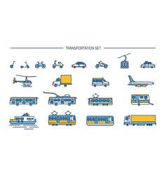 Lineart icon set with ground transport aviation vector