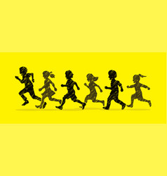 Little boy and girl running group of children run vector