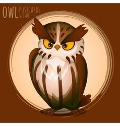 Menacing brown owl cartoon series vector