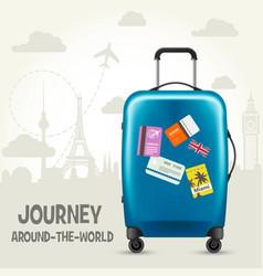 modern blue plastic wheeled suitcase - tourism vector image vector image