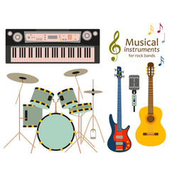 Musical instruments for rock bands vector