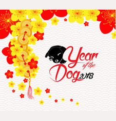 oriental chinese new year background with blossom vector image
