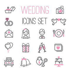 outline wedding day black and pink marriage icons vector image vector image