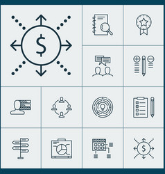 Project icons set collection of decision making vector