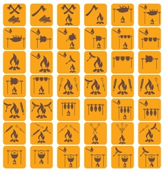 Set of campfire coocking icons vector