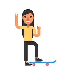 Skateboarding woman in yellow t-shirt flat vector