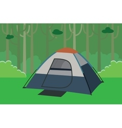 tent camping the jungle with trees in forest vector image vector image