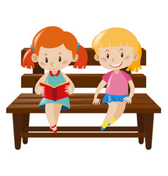 two girls sitting on wooden bench vector image