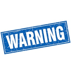 Warning blue square grunge stamp on white vector