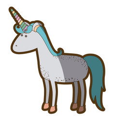 White background with cartoon unicorn standing and vector