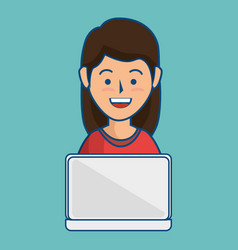 woman using laptop icon vector image