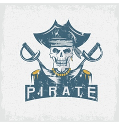 Skull captain pirate in hat with swords grunge vector