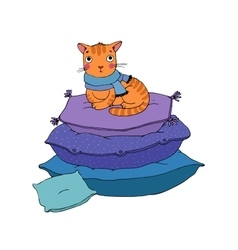 Cute cartoon cat on cushions vector