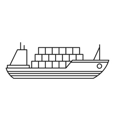 Ship with cargo icon outline style vector