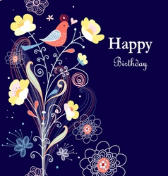 Greeting card with flowers and bird vector