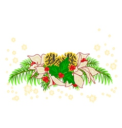 Christmas decoration white poinsettia and holly vector