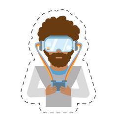 Cartoon man with vr goggles control vector