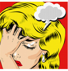 Omg pop art comic blonde woman stressed art vector