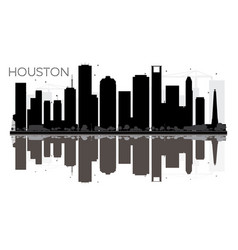 Houston city skyline black and white silhouette vector