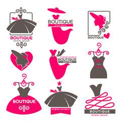 Dress boutique or fashion atelier salon vector